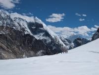 Walking on snow at Cho-La pass
