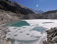 Frozen Glacial Lake at Ngozumpa Glacier