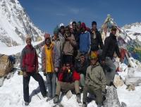 Camping crew at Larkya Top