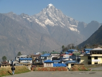 Lukla Airport and Kongde at background